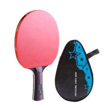 Pingpong Paddle Table Tennis Racket Bat Carbon Fiber Rubber For Training Sports B2Cshop