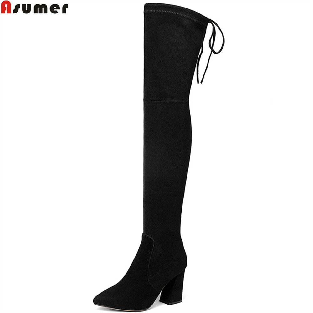 Asumer black fashion autumn women boots pointed toe zipper ladies kid suede boots square heel leather sexy over the knee boots memunia black pointed toe fashion women boots zipper kid suede boots square heel leather cross tied sexy over the knee boots