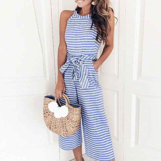 6d63a6f1e38 Elegant Ladies Striped Printed Jumpsuit Women Casual Long Overalls  Sleeveless Summer Rompers Office Wide Leg Pants