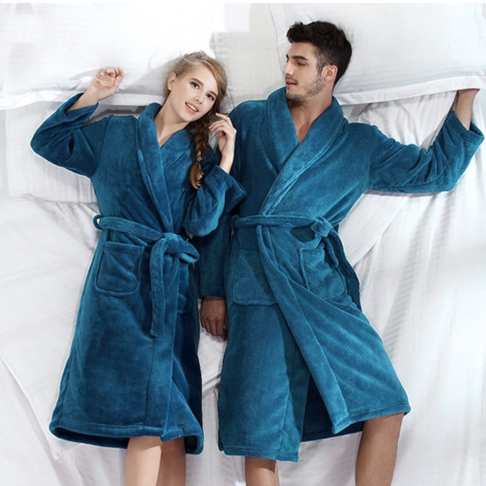 fe7e0e00fb Unisex Bath Robe Women Coral Flannel Bathroom Robe Bathrobe Men Coral  Fleece Pajama Thick Long Spa Robes Shower Homewear-in Robes from Underwear  ...