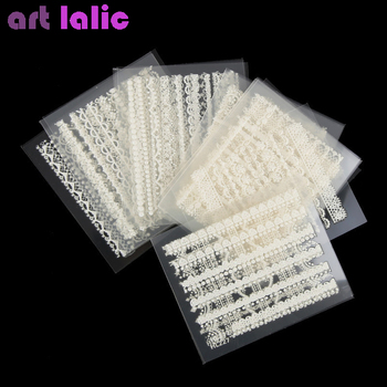 цена на 30 Sheet/lot White Lace Nail Stickers,3D Mix Design Transfer Nail Sticker, Random Nail Art Decals DIY Decoration