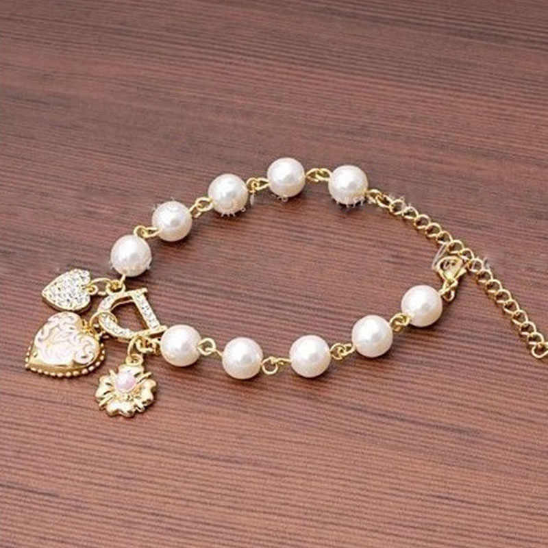 Sweet And Lovely Bracelet Jewelry Imitation Pearl Beads Crystal Friendship Bracelets Bangles Gifts For Women Jewellery Pulseras