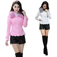 Winter Coat Women Pink Wool Coat Good Quality Fur Collar Bow Slim Short Coat Outwear Long Sleeve chaqueta mujer C91391
