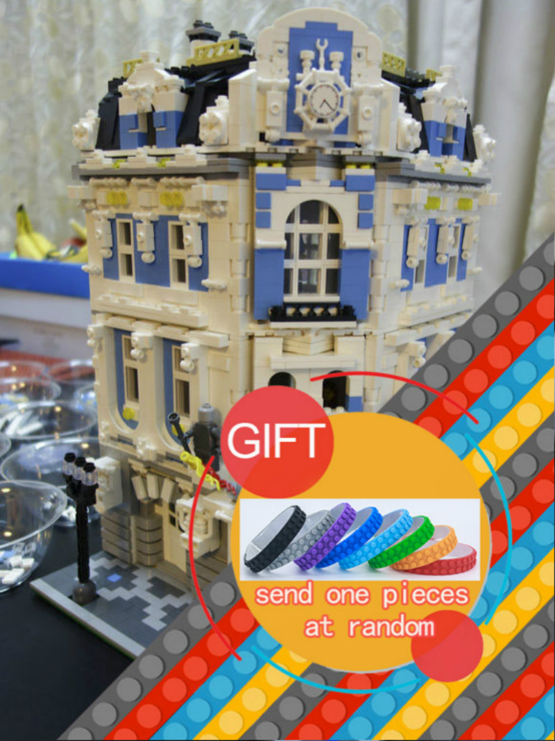 15018 3196pcs MOC City Series The Sunshine Hotel Set Building Blocks Educational Toys DIY Children Day's Gift lepin 12 pcs set diy figures city policeman fireman magician teacher nurse building blocks toys kids educational city set child gift