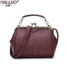 Malluo frauen taschen vintage leder umhängetasche handtaschen frauen berühmte marken clip umhängetasche neu kommen damen crossbody klappe