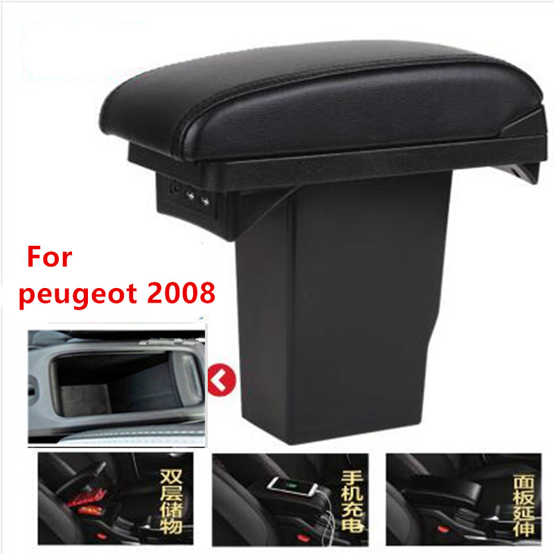 For Peugeot 2008 armrest box +3USB Black Leather Center New Storage Box Modification