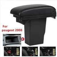 For Peugeot 2008 armrest box +3USB Black Leather Center New Storage Box Modification|Armrests| |  -
