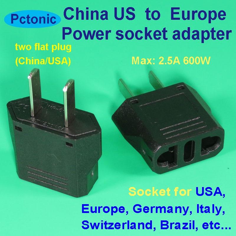 Two Flat Plugs China To USA Europe Type-J Germany Italy Brazil Switzerland Power Adapter Socket Travel In China Plug Converter