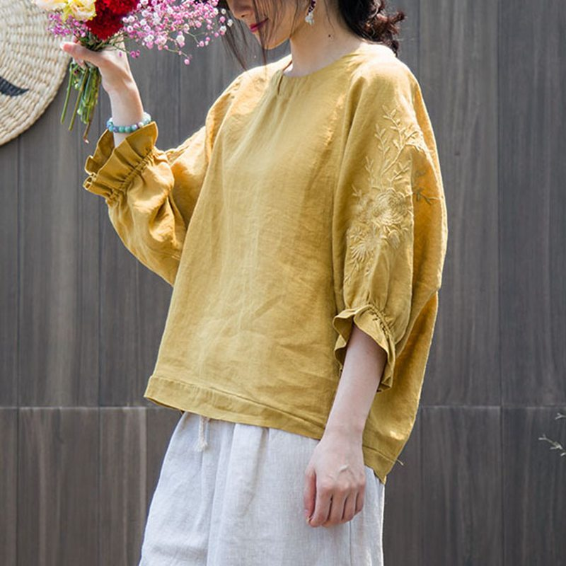 Mferlier Women Cotton Ramie Embroidery Blouse O Neck Flare Sleeve Loose Smart Casual Female Solid Summer Blouse