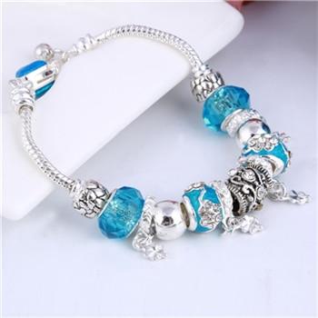 Pink Crystal Charm Silver Bracelets & Bangles for Women  Beads Silver Bracelet Femme Jewelry 28