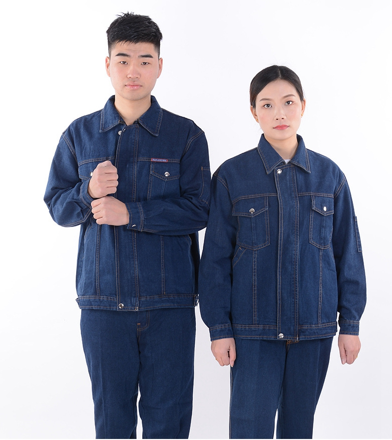 4XL Denim Workwear Large Size Outside Unisex Long Sleeve Suit Welded Fireproof Sputtering Sweat-absorbing High Quality Workwear