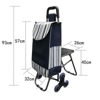 Three wheels Stair Woman Shopping Cart ladder shopping basket large capacity shopping Trolley Portable waterproof shopping bags