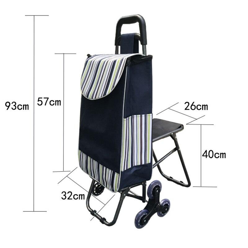 Three wheels Stair Woman Shopping Cart ladder shopping basket large capacity shopping Trolley Portable waterproof shopping bags