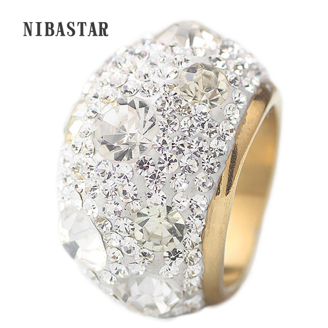 Clear Austrian Crystal Wedding Rings With Gold Plate Stainless Steel Rings Jewel