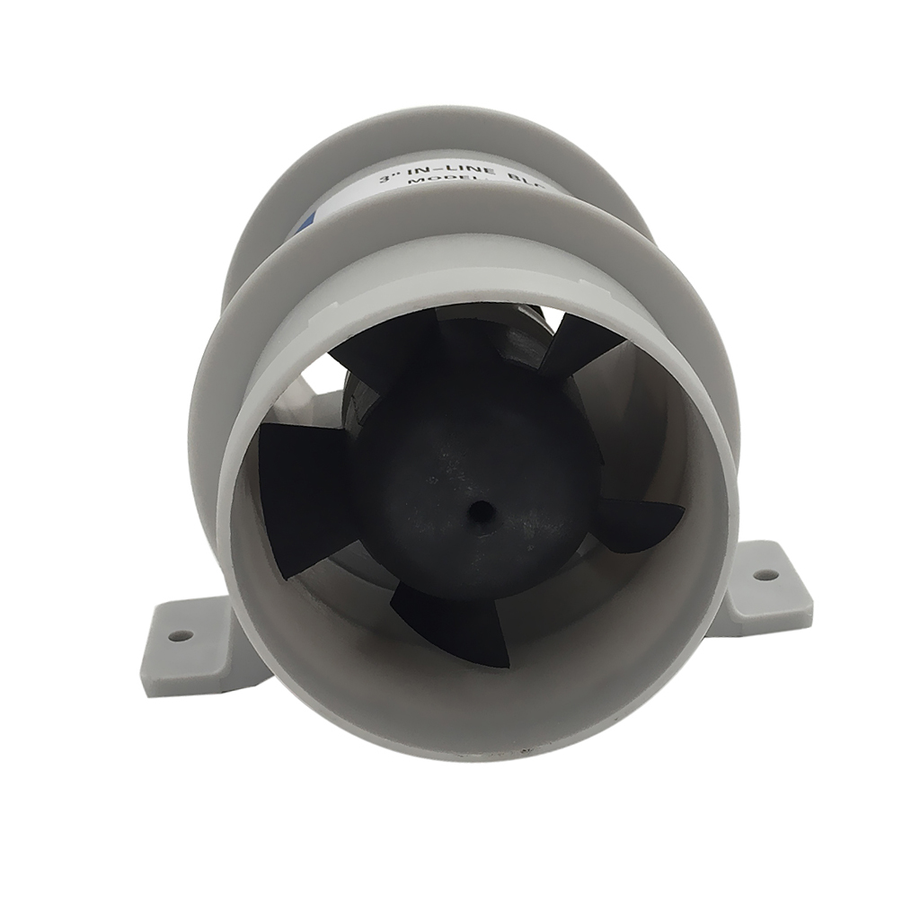 Marine 3' In-Line Bilge Turbo Blower 12 Volt Water Resistant White Suit Boat Corrosion Resistant Nickel-plated Motor