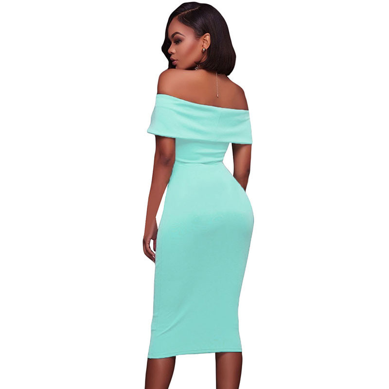 ADEWEL Women Sexy Off Shoulder Strapless Midi Dress Ruched Elegant Bodycon Dress Party Clubwear Pencil dress 34