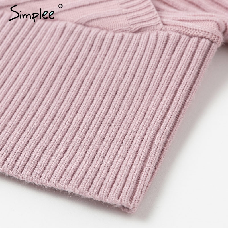 Simplee Sexy v-neck women knitted skirt suits Autumn winter batwing sleeve ladies suit Elegant party female sweater pink dress 15
