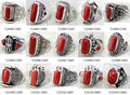 MW-16 Wholesale Nepal India Handmade 925 Sterling Silver inlay Natural Red Coral Ring,Mix order Free EMS Shipping