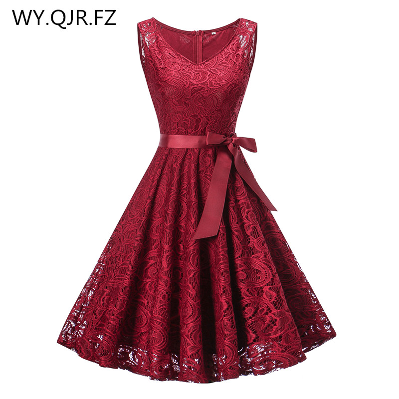 OML510#V-neck Wine Red Bow Short Bridesmaid Dresses Wedding Party Dress 2019 Prom Gown Ladies Women's Fashion Wholesale Clothing