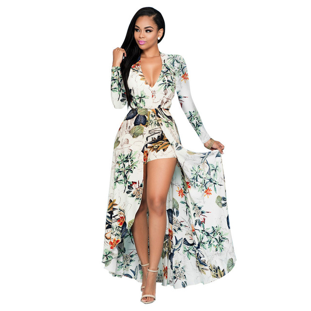 743ebfb7594 Floral print chiffon Plus Size dresses Long sleeves v neck beach summer  dress Sexy women dress
