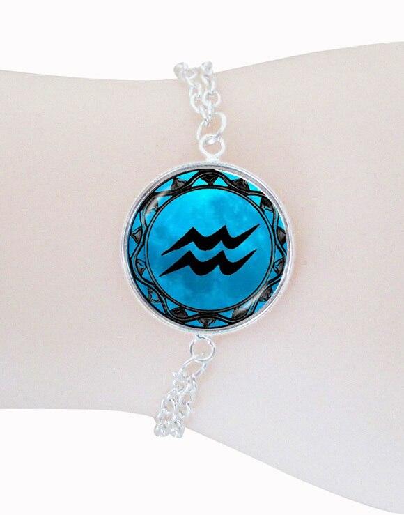 1e60ba89aa4 Pulseira jóias pingente cúpula de vidro do zodíaco constelação Aquarius  pulseira corrente de prata lua jóias pulseras pulseira Horóscopo