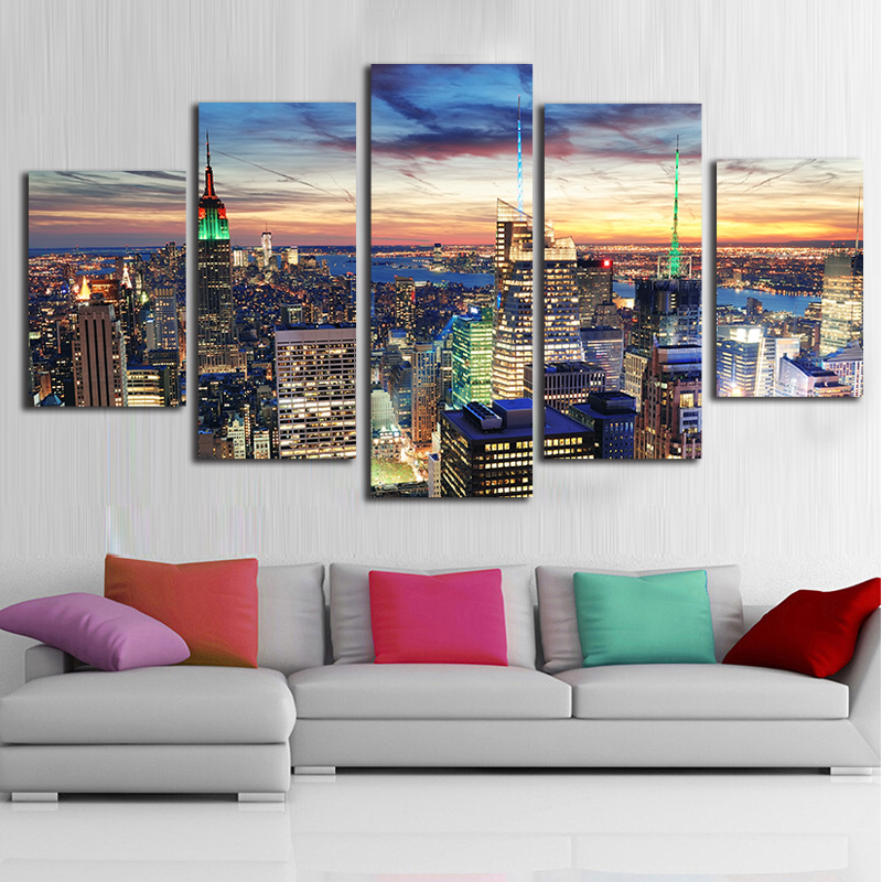 Canvas HD Prints Posters Wall Art 5 Pieces New York City Skyscrapers Nightscape Paintings Building Pictures Home Decor Framework ...