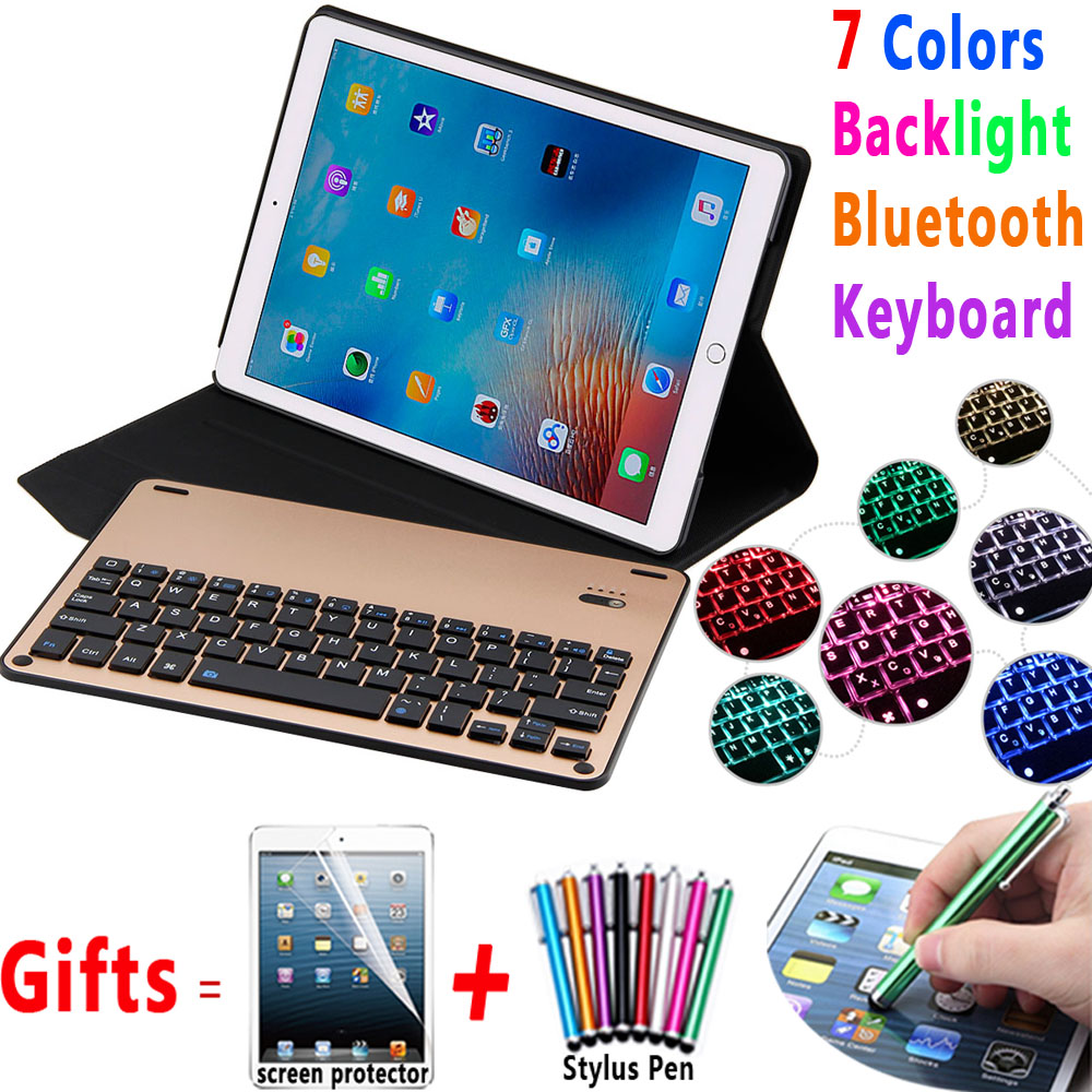7 Colors Backlit Aluminum Alloy Wireless Removeable Bluetooth Keyboard Case Cover for Apple iPad Pro 10.5 inch A1701 A1709 Coque aluminum keyboard cover case with 7 colors backlight backlit wireless bluetooth keyboard