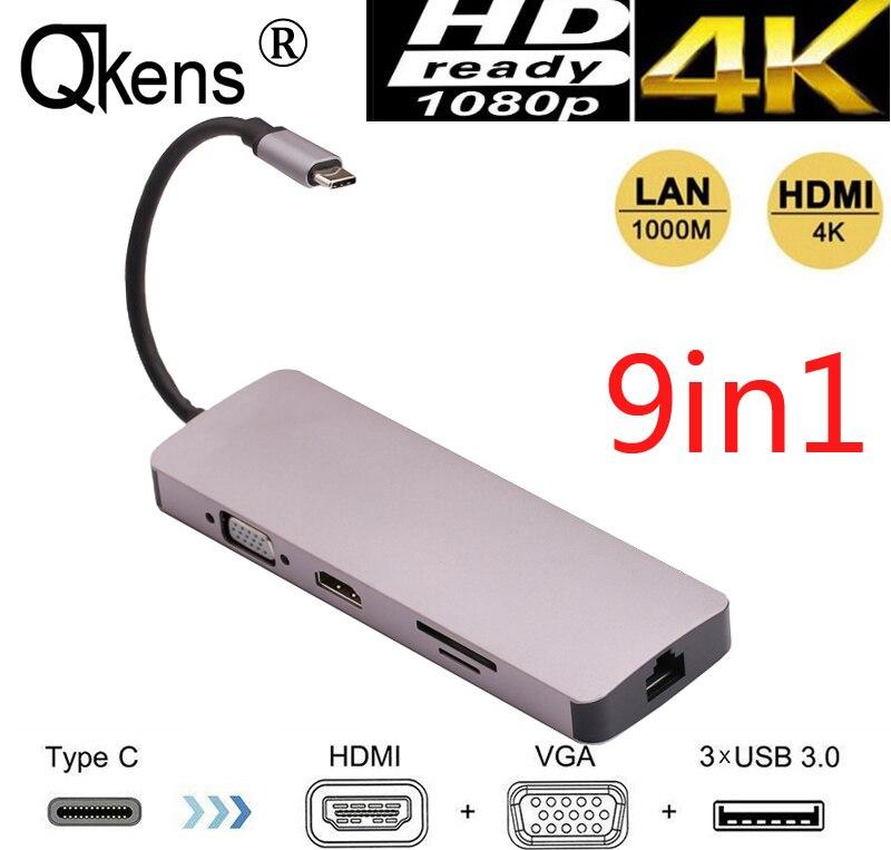 9 en 1 Type C à la livraison d'énergie 4 K vidéo HDMI TV VGA 1000 Mbps Gigabit Ethernet Lan câble adaptateur 3 USB 3.0 HUB SD TF lecteur de carte