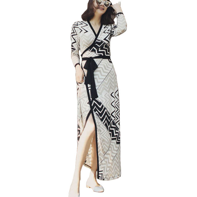 2017 European Runway Designer Boho Dresses Woman Full Sleeve Wave Print Cardigan Belted Kimono Bohemian Long Dresses Robe Femme