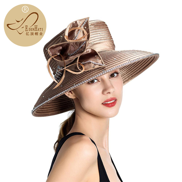 74509f93d7e76 Promotion Wide Brim Ladies Fancy Church Hat With Stone and Feather PP Braid  Hat Elegant Hat S10-1359