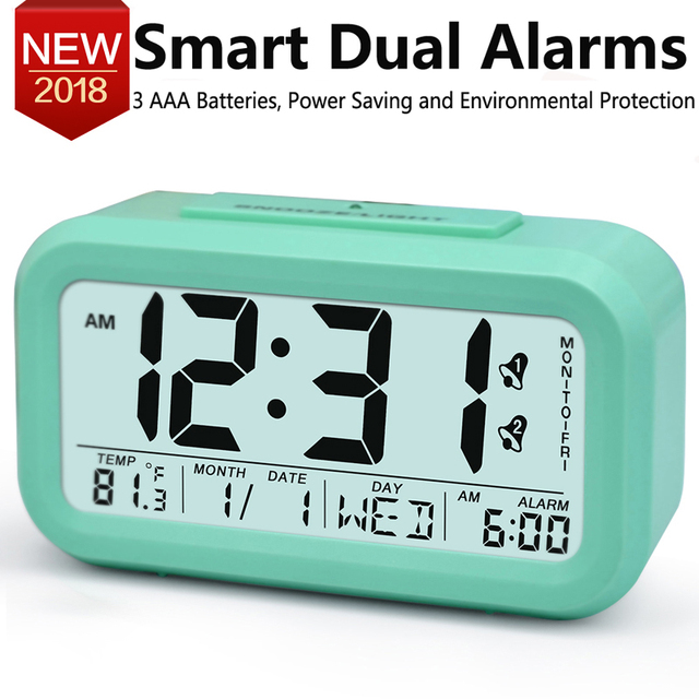 Large Digital Alarm Clock LCD Student Electronic Clock Snooze ...