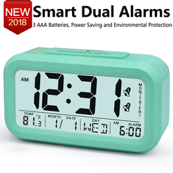 TXL smart Alarm Clock for student, Month Date Day display, LCD light sensor, snooze desktop clock, Kids Table Clock, mint 4color