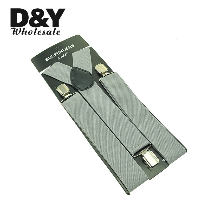 3.5cm Wide Men's Unisex Clip-on Braces Elastic Shirt Suspenders For Trousers Pants Holder Light Grey Wholesale Wedding Elastic