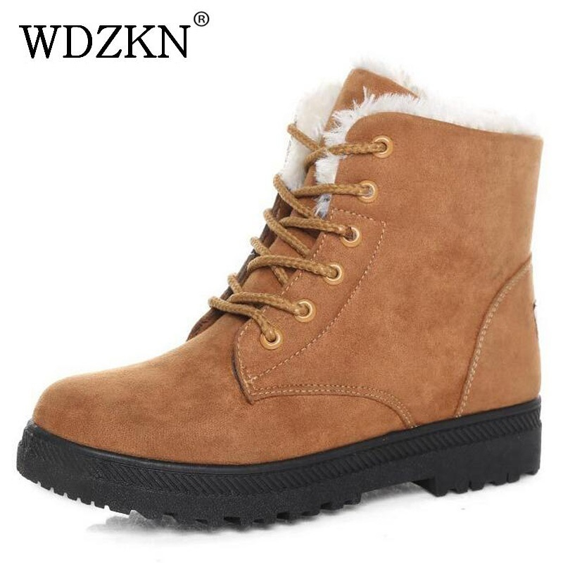 WDZKN winter snow boots female short tube warm boots lace up round toe flat heel ankle boots for women winter shoes plus size 42 front lace up casual ankle boots autumn vintage brown new booties flat genuine leather suede shoes round toe fall female fashion