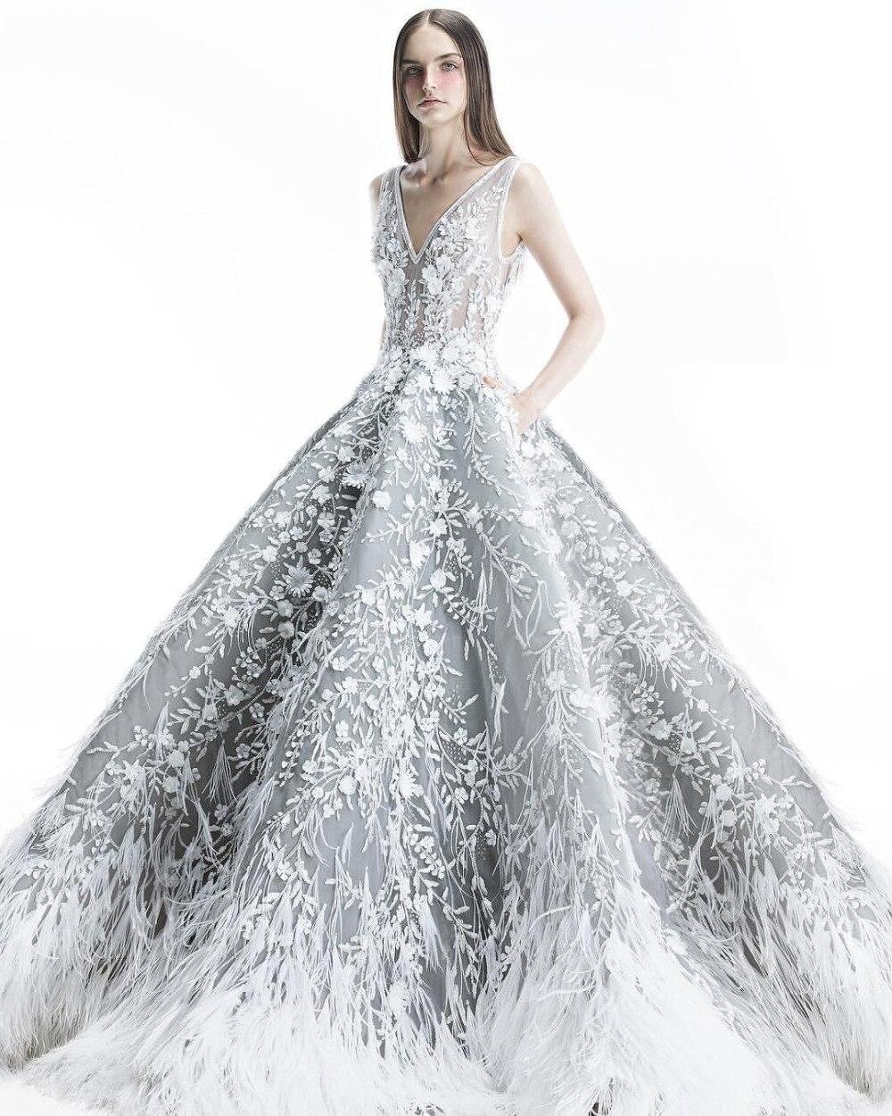 Eslieb Luxury Wedding Dress 2019 Feathers Wedding Dresses