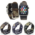 Кожаный Ремень Камуфляж Замена Apple Watch Band Ссылка Браслет с Металлической Пряжкой Для Apple iWatch 38 мм и 42 мм Коричневый