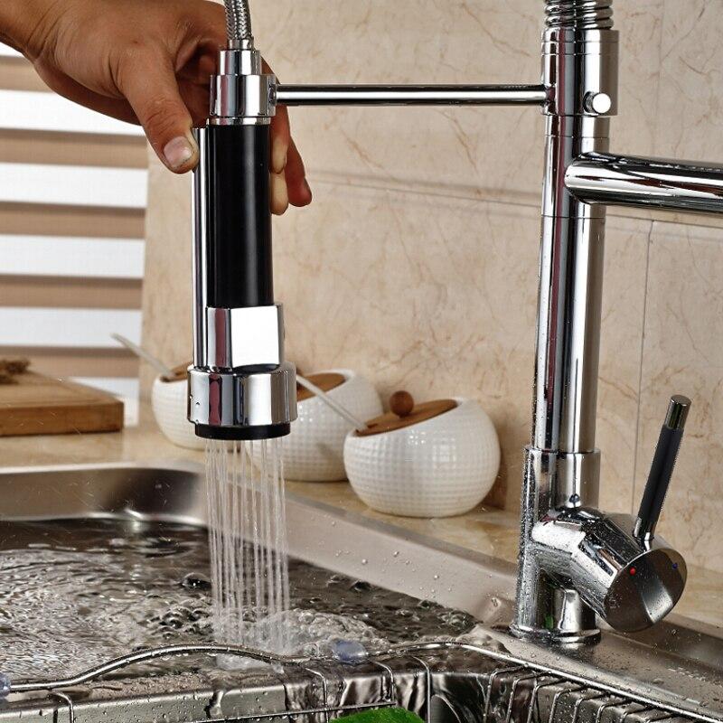 POIQIHY Chrom Küche Wasserhahn Schwarz Pull Unten 360 Rotation Frühling Kitchen Sink Armaturen Torneira Schwenk Auslauf Küche Mischbatterie