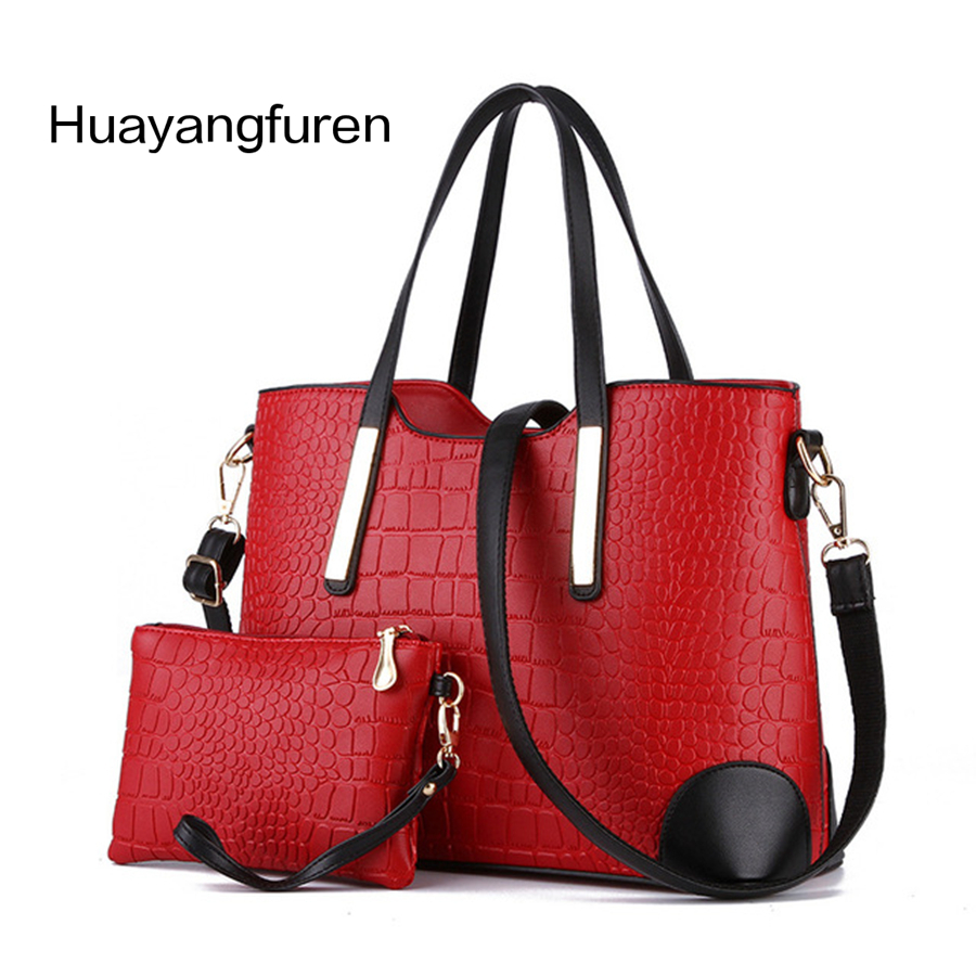women's fashion elegant shoulder bag classic trend Crocodile grain PU leather handbag Messenger bag and get a Clutch Wallet Q1 delin foreign female bag bag handbag shoulder aslant crocodile grain lady handbags package a undertakes the new trend