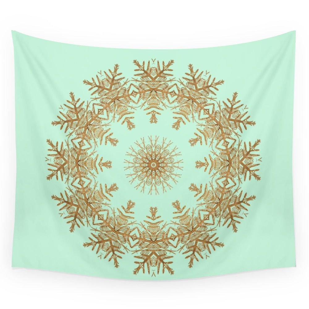 Gold Wreath On Mint Wall Tapestry Wall Hanging Tapestry for Home Psychedelic Bedspread Art Carpet 4 Sizes