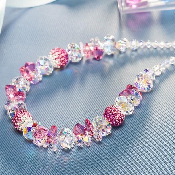 Día de san valentín de Plata Plateado Collar Cristalino de Austria, Princesa rosa Collar Para Las Mujeres, Retro Collar de Cristal de regalo de Navidad