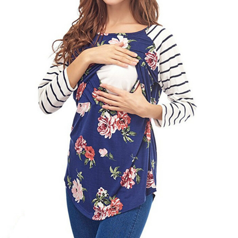 2019 Spring Casual Striped Floral O neck Collar long sleeve nursing top breastfeeding clothing for pregnant women Tee Shirt
