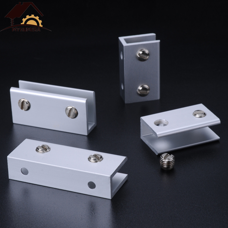12PCS Myhomera Glass Clamps For 5/8/10mm Shelves Holder Corner Bracket Clamp Aluminum Thick Glass Clips 6 Sizes 8x40mm 10x60mm
