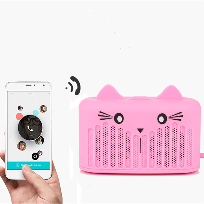 Cute <font><b>Cat</b></font> <font><b>Bluetooth</b></font> Wireless <font><b>Speaker</b></font> Phone Holder Mini Subwoofer Portable <font><b>Speaker</b></font> <font><b>Bluetooth</b></font> 4.2 Support AUX/TF/USB 4 Colors image