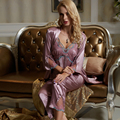 XIFENNI Brand Women Satin Silk Pajamas Noble Purple Three-Piece Pyjama Sets Sexy V-Neck Embroidery Imitation Silk Sleepwear 1536