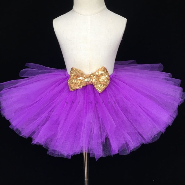 18264cb18 Girls Purple Tutu Skirts Baby Fluffy Tulle Skirt Ballet Dance Pettiskirts  Tutus with Gold Sequin Bow Kids Party Costume Skirts