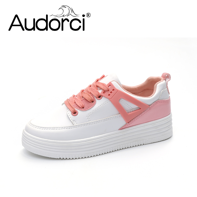 Audorci 2018 Spring Woamn Thick White Shoes Female Mixed Color Wild Shoe Women Casual Breathable Sneakers Size 35-40 free shipping candy color women garden shoes breathable women beach shoes hsa21