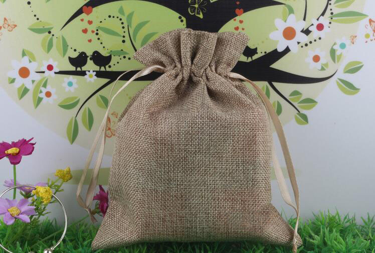 14*18 30pcs Jute Drawstring Sacks gift bags with jewelryAccessoriesCosmeticweddingchristmas Linen pouch Packaging Bag