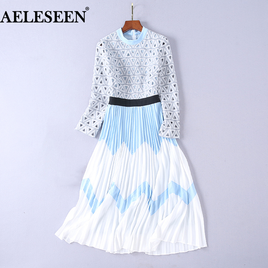 AELESEEN High Quality Long Dresses Autumn 2018 Luxury Full Sleeve Contrast Color Slim Runway Hollow Out