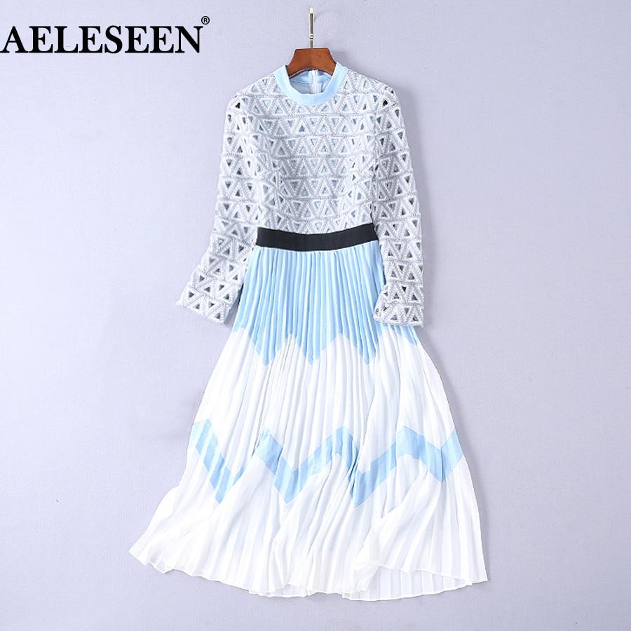 AELESEEN wysokiej jakości długie sukienki jesień 2018 luksusowe pełne rękawem kontrast kolor Slim Runway Hollow Out długa plisowana sukienka w Suknie od Odzież damska na  Grupa 1