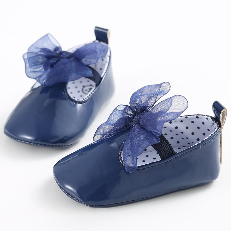 Hot Sales Newborn Baby Girls Lace Bow PU Leather Frist Walkers Shoes Soft Soled Non-slip Footwear 5 Colors